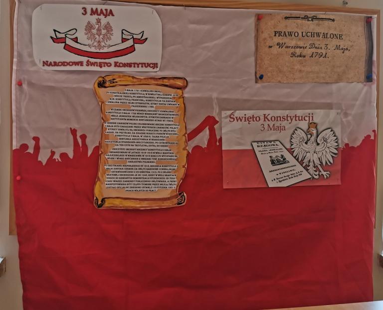 Przygotowanie gazetki z okazji zbliżającej się 230 rocznicy uchwalenia Konstytucji