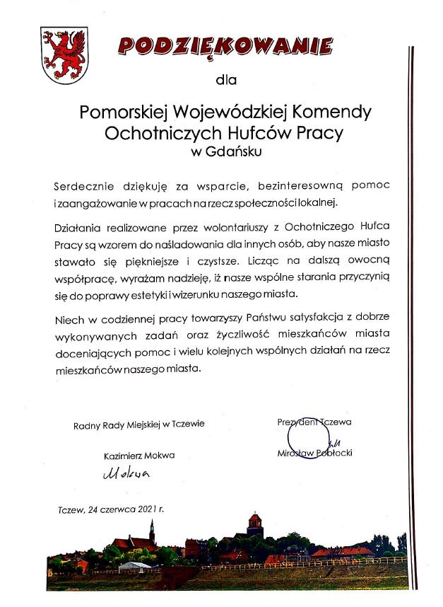 Podziękowanie dla Pomorskiej Wojewódzkiej Komendy OHP
