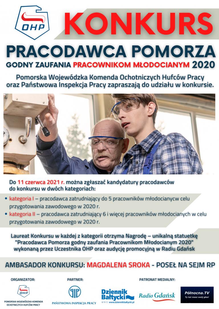 """KONKURS """"Pracodawca Pomorza - godny zaufania pracownikom młodocianym 2020"""""""