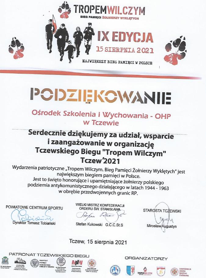 Podziękowanie dla Ośrodka Szkolenia i Wychowania w Tczewie